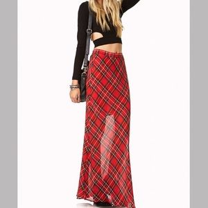 Sheer plaid maxi skirt NWOT